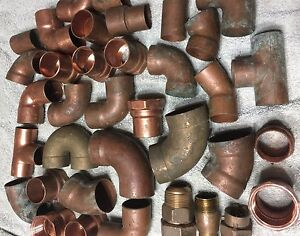 Plumbers Lot Of 36 Copper Brass Fittings Plumbing Parts Steampunk