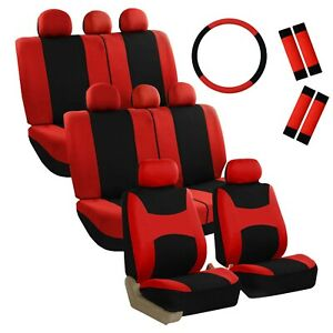 8 Seater Red Black 3 Row Fabric Seat Covers W 1steering Wheel 4seat Belt Pads