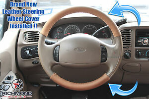 2003 2007 Ford F250 F350 King Ranch leather Steering Wheel Cover 2 piece Wrap