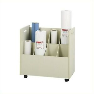 Filing Cabinet File Storage Wood Mobile Roll Files 8 Compartments In Putty