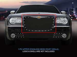 Black Stainless Steel Rivet Mesh Grille Grill For Chrysler 300 300c 2005 2010