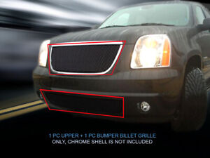Black Billet Grille Grill Combo For 2007 2008 2009 2010 2011 2012 2013 Gmc Yukon