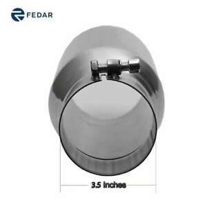 3 5 Inch Inlet 5 Outlet 12 Long Dual Wall Slant Angle Cut Truck Exhaust Pipe Tip