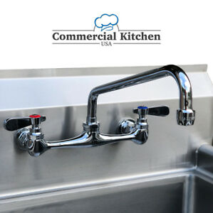 Commercial Kitchen 8 Center Wall mount Faucet W 10 Swing Spout Nsf Low Lead