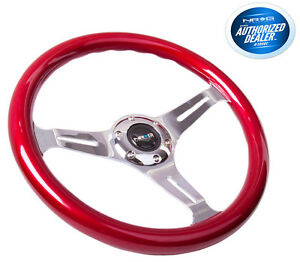 Nrg Steering Wheel Red Classic Wood Grain 3 Spoke Chrome Center St 015ch rd
