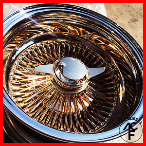 new 13x7 Rev 100 Spoke Wire Wheel all Gold Center True Knock Off