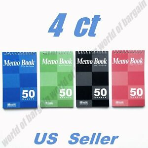 4 Pack 50 Sheets Memo Notebooks 3x5 Ruled Mini Note Taking Book Pocket Size C039