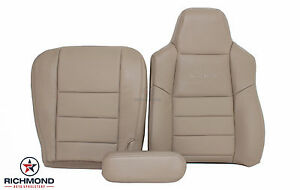 02 03 Ford F250 Lariat Driver Side Complete Perforated Leather Seat Covers Tan