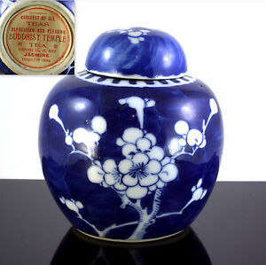 Chinese Qing Buddhist Cherry Blossom Blue Export Porcelain Tea Caddy Ginger Jar