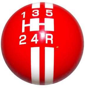 Rally Red W White Stripes Mustang 5 Speed Shift Knob M12x1 25 Thread