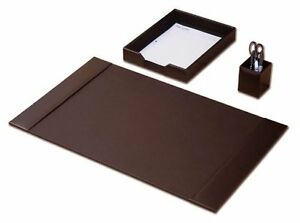 Desk Pad Pencil Cup Letter Tray Accessory 3 pc Set Home Office Brown Leather New