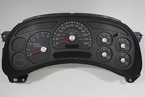 03 04 2003 2004 Complete Chevy Silverado Instrument Cluster Red Silver No Core