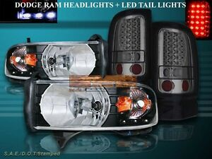1994 2001 Dodge Ram 1500 Black Headlights Led Amber Smoke Led Tail Lights