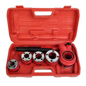 New Ratchet Pipe Threader Kit Set Ratcheting W 5 Stock Dies Handle Plumbing Case