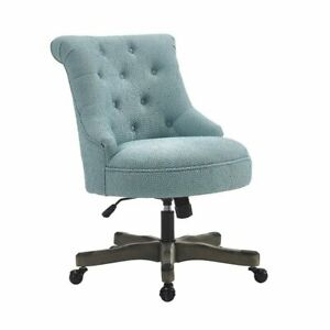 Linon Sinclair Wood Upholstered Office Chair In Light Blue