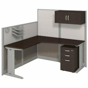 Bowery Hill L Workstation With Storage In Mocha Cherry