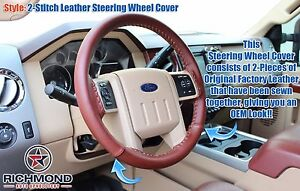 2013 2014 Ford F250 F350 King Ranch leather Steering Wheel Cover 2 stitch Style