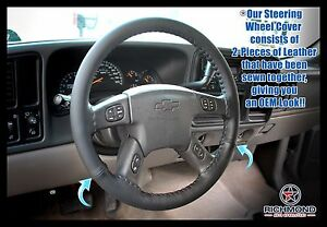 2006 Chevy Silverado 1500 1500hd Lt Ls Z71 Leather Steering Wheel Cover Black