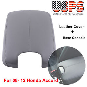 Gray Hand Leather Arm Rest Cover Base Console Lid For 08 12 Honda Accord Fi