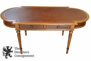 Neoclassical Style Leather Topped Inlaid Desk Hall Table Spindle Designer Vtg