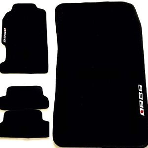 4pc Set Black Floor Mats With Bb6 Logo For Honda Prelude 1997 Through 2001