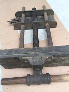 Antique Fulton Tools Woodworking Vise Under Bench Mount 2 x10 Jaw Labeled
