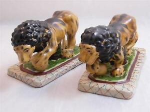 Pr Of Hand Painted Staffordshire Lion Figurines