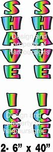 Shave Ice Vertical Decal 40 Snow Cones Trailer Concession Cart Food Truck