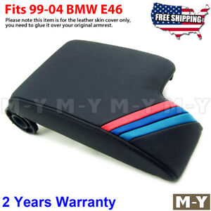 Fits 99 04 Bmw E46 M3 Black Leather Console Lid Armrest Cover M Tech Stripes