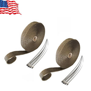 Free Expedited Shipping 2 Rolls 1 50ft Titanium Header Exhaust Wrap 12 Ties