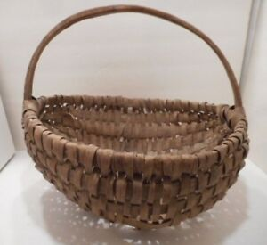 Old Primitive Split Oak Gathering Basket Handwoven Splint Pa Farm Estate