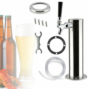 Single Tap 3 Dia Draft Beer Tower Stainless Steel Bar Pub Kegerator System