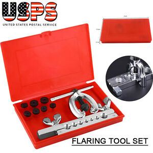 10pcs Double Flare Dies Tubing Pipe Flaring Tool Kit Set W Case For Car Truck