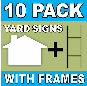 White House Shape Blank Yard Signs With H stakes Diy sign Kit 10 Pack Large