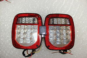 2001 2006 Jeep Tj Led Tail Lights Clear Lens Bright Red Led With Flasher Relay