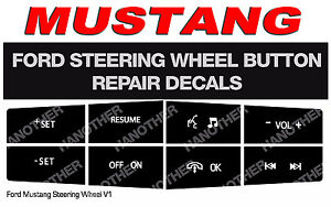 Ford Mustang Steering Wheel Button Repair Decals Stickers