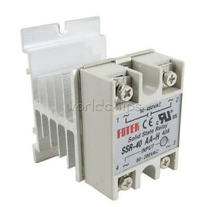 Ssr 40aa 40a Solid State Relay Module 80 250v Ac 24 380v Aluminum Heat Sink