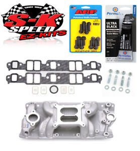 Edelbrock 7501 Sbc Performer Rpm Air Gap Intake Manifold W bolts gaskets rtv