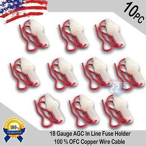 10pcs 18 Gauge Agc In line Twist Type Fuse Holder W Copper Wire Cable Boat Rv
