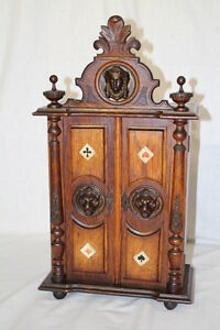 Late 19th Century Card Game Table Cabinet Individual Suite Drawers Lion Head