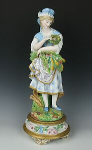 Antique 19c French Porcelain Figurine Girl With Flowers And Eggs Worldwide