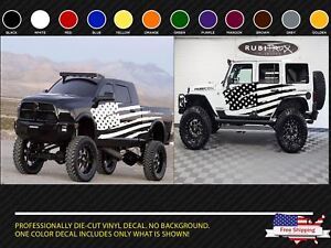 Distressed Flag Side Body Decal Kit To Fit Jeep Wrangler Truck Ram Dodge Style