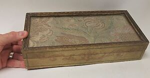 Antique French Italian Gift Painted Box Inset Silverthread Embroidery Fabric