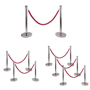 Silver Ball Top Stainless Steel Retractable Stanchion Posts With Rope Barriers