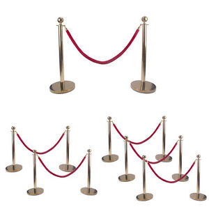 Gold Ball Top Stainless Steel Retractable Stanchion Posts With Rope Barriers New