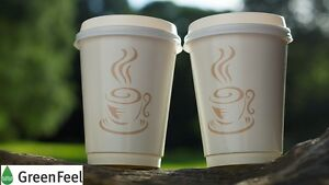 Disposable Paper Coffee Cups Double Wall 8oz 12oz Sip Lids For Hot Cold Drinks