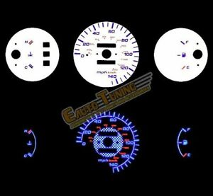 White Indiglo El Gauges Kit Glow Blue Reverse For 92 95 Civic Dx Mt Only
