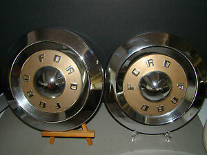 Vintage Set Of 2 Ford Dog Dish 1950 S Hub Caps Poverty Caps Fairlane Thunderbird