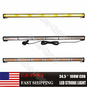 34 5 108w Cob Led Amber Flash Traffic Advisor Beacon Emergency Warn Light Bar
