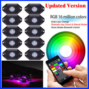10x Led Rgb Rock Lights Underwheel Offroad Truck Music Strobe Bluetooth